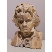 Antique 1935 Original Italy Rare Bust Of Beethoven Plaster Signed G. Setta