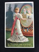 Vintage Halloween Postcard Germany Embossed 1915 Witch In Shadow Mirror Magic