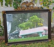 Vintage American Federal Rectangular Bronze Highlighted Eagle Wall Mirror