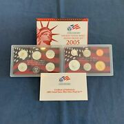 2005 Us Mint Silver Proof Set In Box W/ Coa - Free Shipping Usa