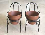 Terra Cotta Clay Planters Pots With Metal Chair Stands Set Of 2