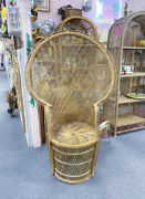 Large Vintage Rattan Wicker Peacock Throne Chair Rare X Mint Local Pickup Only