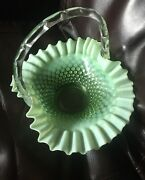 Vintage Fenton Glass Aqua Blue Opalescent 10and039and039 Basket Hobnail Preowned