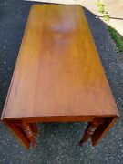 Antique Early 19th Century Solid Cherry Sheraton Drop Leaf Dining Table - 6 Legs