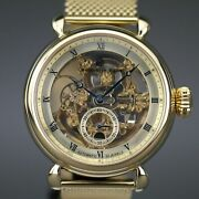 Constantin Weisz Gold Plated Automatic Wrist Watch Skeleton Dial And Milanese Br