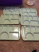 6 Vintage Prolon Ware Mint Green Divided Cafeteria School Lunch Food Trays