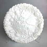 Antique Pv France White Majolica Plate 9 Flowers And Blooming Strawberries