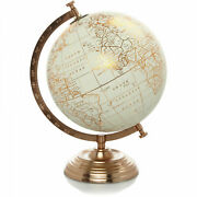 Vintage World Copper Globe With Spinning Iron Stand And Cream Map Home Decor