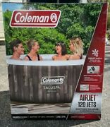 Coleman Saluspa 4 Person Inflatable Hot Tub Jets Jacuzzi Bahamas Weather Wood