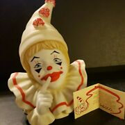 1984 Pom Pom Enesco Clown Holding Finger Up Shh 80s Vintage New With Box And Tag