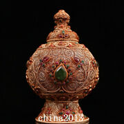 China Old Antique Dynasty Palace Temple Tibetan Silver Gem Inlay Covered Jar Pot