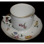 Antique 18th Original Rare Germany Cup And Saucer Meissen Porcelain Marked
