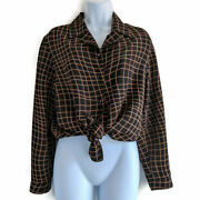 Black Gold-brown Abstract Plaid Geo Button Top M/l Blouse Career Lightweight