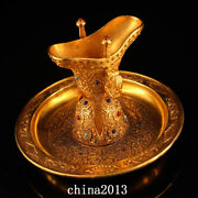 China Qing Dynasty Palace Temple Bronze 24k Gilt Gem Inlay Three Foot Wine Cup