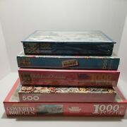Lot Of 5 Quality Jigsaw Puzzles Springbok 500 And 1000 Brand New Sealed