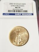 Low Pop 2007 W 25 Gold American Eagle Ngc Certified As Ms70 Early Releases
