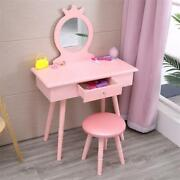 Pink Girls Kids Vanity Makeup Dressing Table Chair Set Wooden W/ Mirror And Drawer