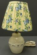 Longaberger Pottery Blue Woven Traditions Lamp W/ Rose Trellis Lamp Shade Tested