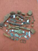 Huge Lot Of Civil War Relics Bullets Buttons Hardware Cannonball Fragments Grape