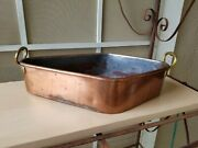 Rare Antique A B Copper And Brass Fish Poaching Pan Roaster With Handles 13 X 8