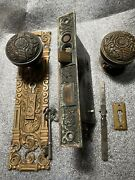 Antique Large Penn Portulaca Entry Lockset Backplate, Door Knobs And Rosette