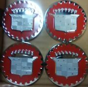 Cadillac Wire Wheel Emblems Set Of 4 Chrome And Red Size 2.25andrdquo Metal Zenith Style