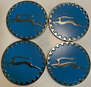 Impala Wire Wheel Chips Emblems 4 Blue 801 And Chrome Size 2.25 Zenith Style