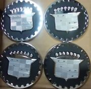 Cadillac Wire Wheel Emblems Set Of 4 Chrome And Black Size 2.25andrdquo Zenith Look