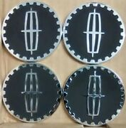 Lincoln Wire Wheel Chips Emblems 4 Black And Chrome Metal Size 2.25 Zenith Style