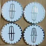 Lincoln Wire Wheel Chips Emblems 4 White And Chrome Metal Size 2.25 Zenith Style