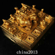 Antique Qing Dynasty Palace Temple Bronze 24k Gilt Chinese Zodiac Seal Statue