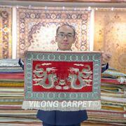 Yilong 1.5and039x2and039 Chinese Dragon Handwoven Silk Rug Home Decor Tapestry Carpet 094h