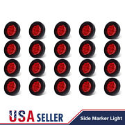 20pcs Red 2 Round 9 Led Side Marker Clearance Light Grommet And Plug Waterproof