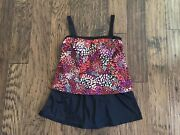 Maxine Of Hollywood Swim Suit W/ Skirt Sz 14 Built-in Cups Nwot