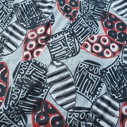 Knit Sewing Fabric Grey Red Black Artsy Abstract Print 2 Yards
