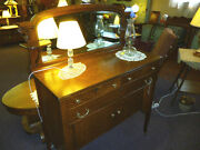 Antique Oak Sideboard Buffet Server 1900and039s Refinished Restored Lions Heads