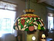 Antique Stained Glass Lamp Shade Kitchen Dining Birds Fruit 24 Victorian