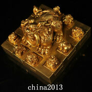 Chinese Antique Qing Dynasty Palace Temple Bronze 24k Gilt Dragon Seal Statue