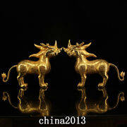 Antique Tang Dynasty Palace Temple A Pair Bronze 24k Gilt Exorcise Beast Statue