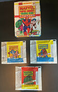 1976 Topps Marvel Super Heroes Display Box And 3 Variation Wrapper Set Very Rare