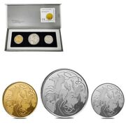 2011 Israel Gold/silver Elijah In The Whirlwind - Biblical Art 3-coin Set W/box