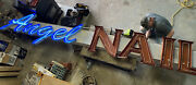 Vintage Angel Nails Neon Lighted Sign Letter Advertising 16 Foot Display 1970