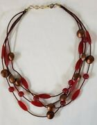 Red And Bronze Resin Beaded Multi-strand Angela Caputi-look 16 Necklace