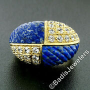 Vintage 18k Gold 1.92ctw Carved Lapis And Round Diamond 4 Section Dome Bombe Ring