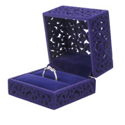 100x Velvet Ring Storage Box Blue Hollow Out Jewelry Display Engagement Boxes