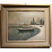 Vintage 20th Swiss Rare Original Morges Oil Canvas Painting Signed Alf. Bolle