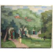 Vintage 20th Swiss Original In The Garden Oil Canvas Painting Signed H. Weber