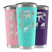 Mama Bear Tumbler, Birthday Gifts For Mom, Personalized 20 Or 30 Oz. - 13 Colors