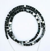 62.00 Ct Black Necklace Strand 16 Inch Fancy Cube Shape Polished Beads