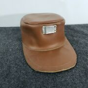 Vintage Leather Coal Miners Helmet Mining Hat Cap With Lamp Clip On Front